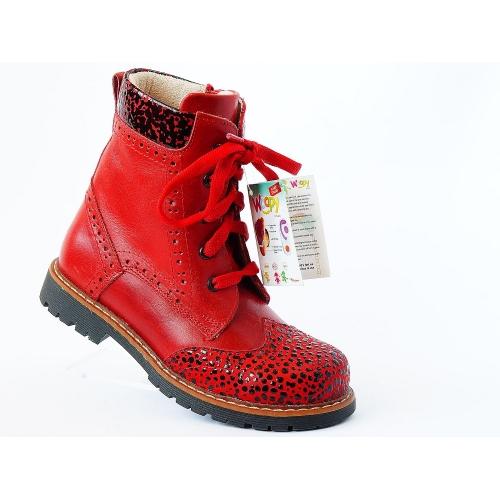 Ортопедические демисезонные ботинки 571-Red (ТМ Woopy, Турция)
