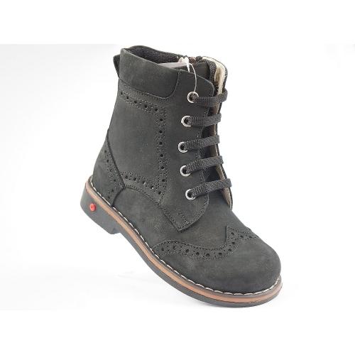 Ортопедические демисезонные ботинки siyah nubuk fliz 571 (ТМ Cezara, Турция)