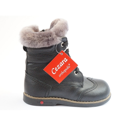 Ортопедические зимние ботинки черн. 571 (ТМ Cezara, Турция)