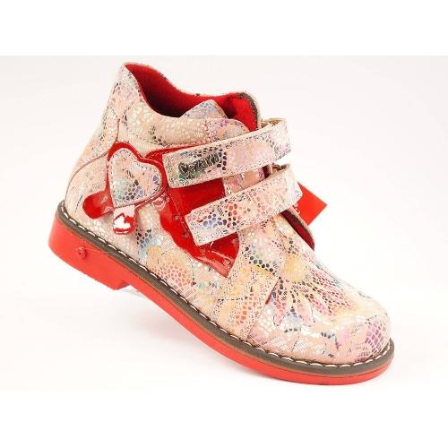 Ортопедические демисезонные ботинки 1714-красные (ТМ Cezara, Турция)