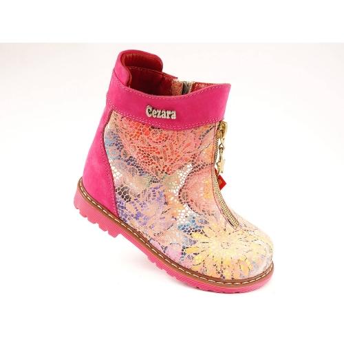 Ортопедические демисезонные ботинки 1812-розовые (ТМ Cezara, Турция)